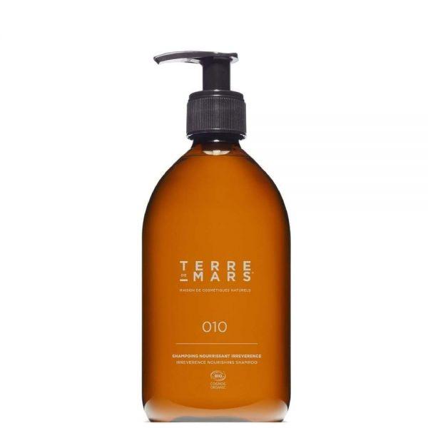Amber glass 500ml bottle of irreverence nourishing shampoo by French brand Terre de Mars