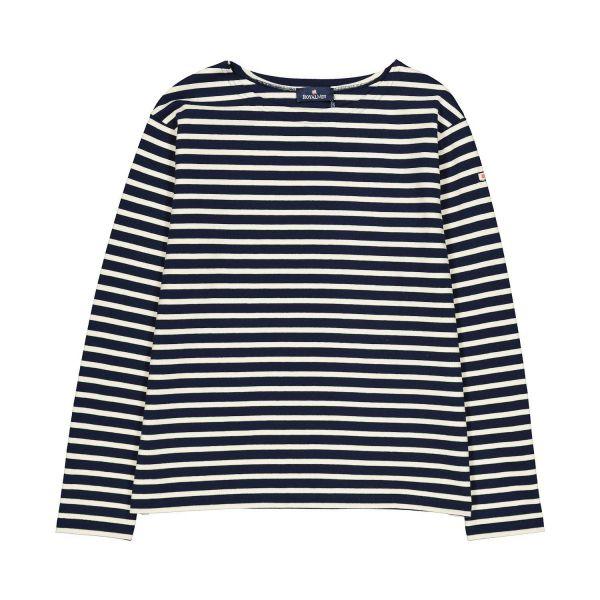 Ecru / Navy Cotton long sleeve t-shirt- L