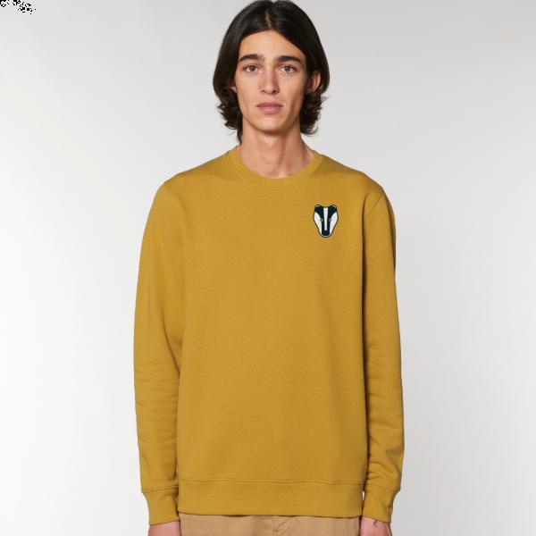 Badger adults organic cotton sweatshirt Ochre