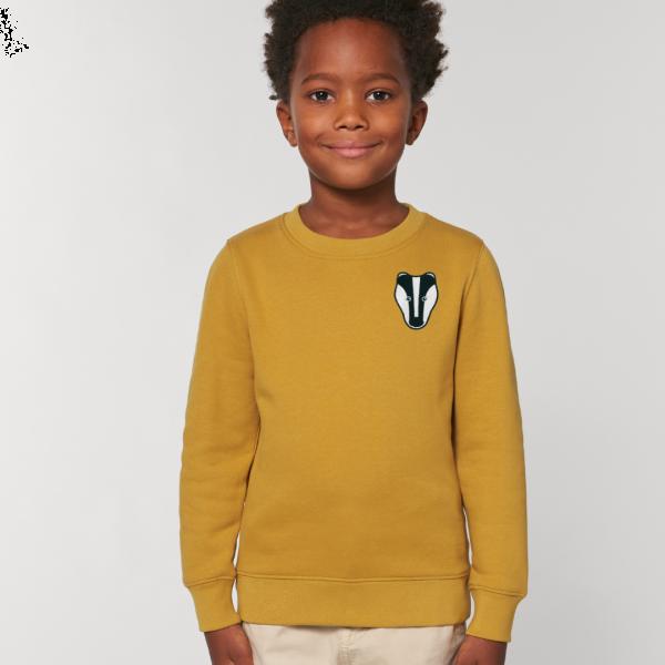 badger kids organic cotton sweatshirt Ochre