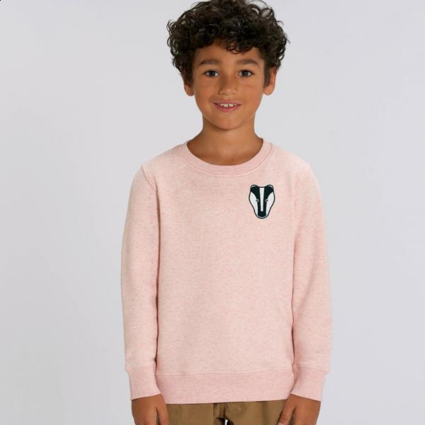 badger kids organic cotton sweatshirt Cream Pink Marl