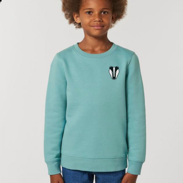 badger kids organic cotton sweatshirt Teal Monstera