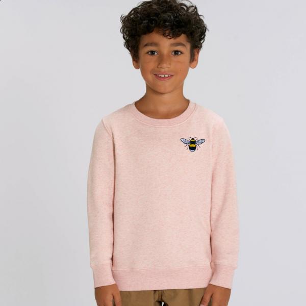 bee kids organic cotton sweatshirt Cream Pink Marl