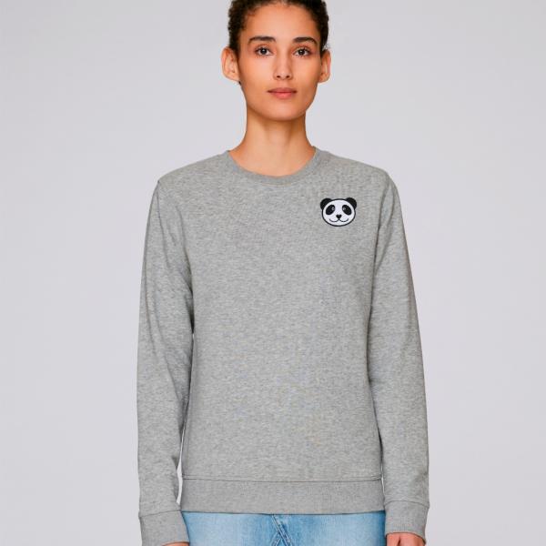 panda adults organic cotton sweatshirt Grey Marl