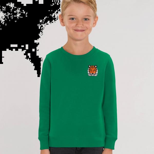 tiger kids organic cotton sweatshirt Green
