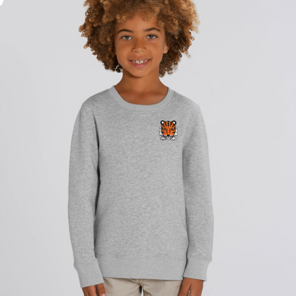 tiger kids organic cotton sweatshirt Grey Marl