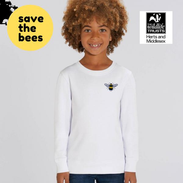 bee kids organic cotton sweatshirt White