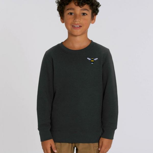 bee kids organic cotton sweatshirt Black