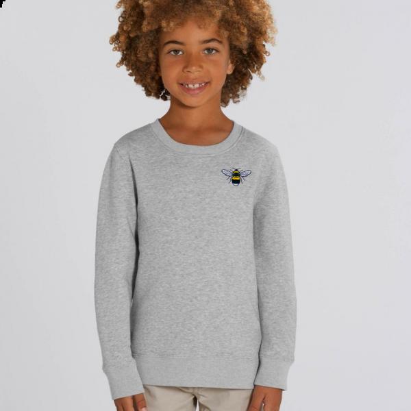 bee kids organic cotton sweatshirt Grey Marl