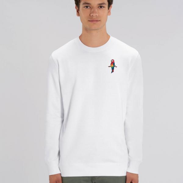 parrot adults organic cotton sweatshirt White