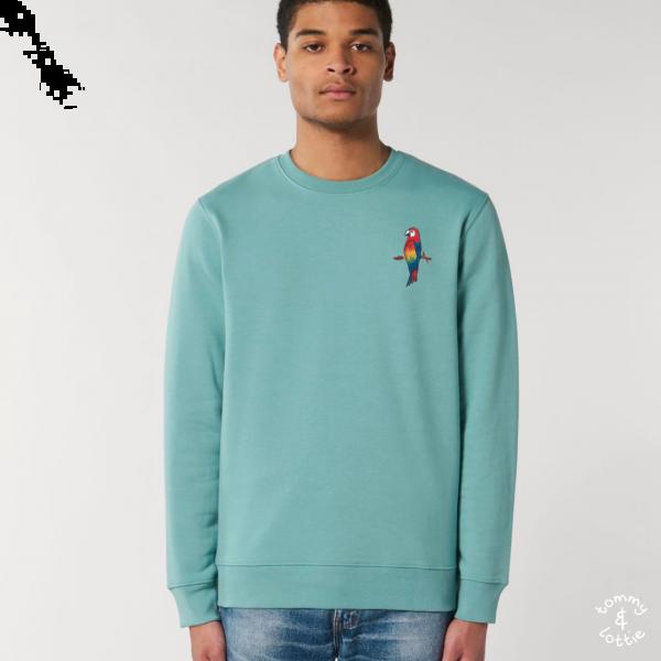 parrot adults organic cotton sweatshirt Teal Monstera