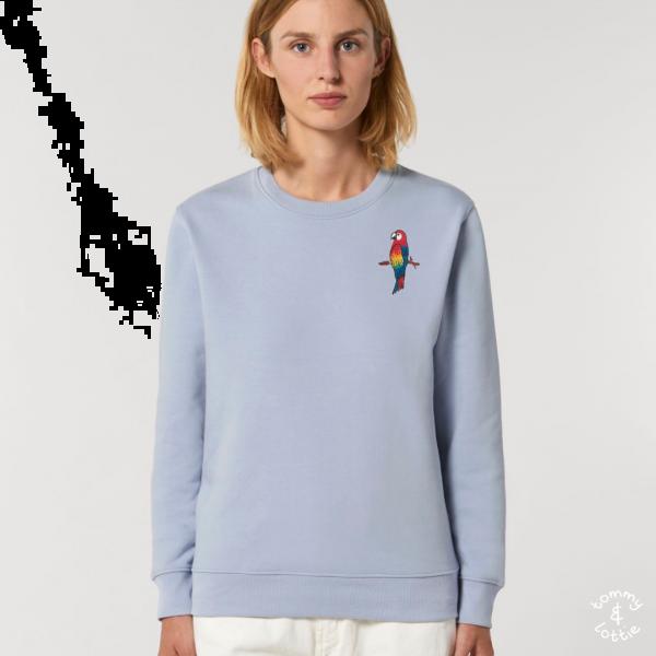 parrot adults organic cotton sweatshirt Serene Blue