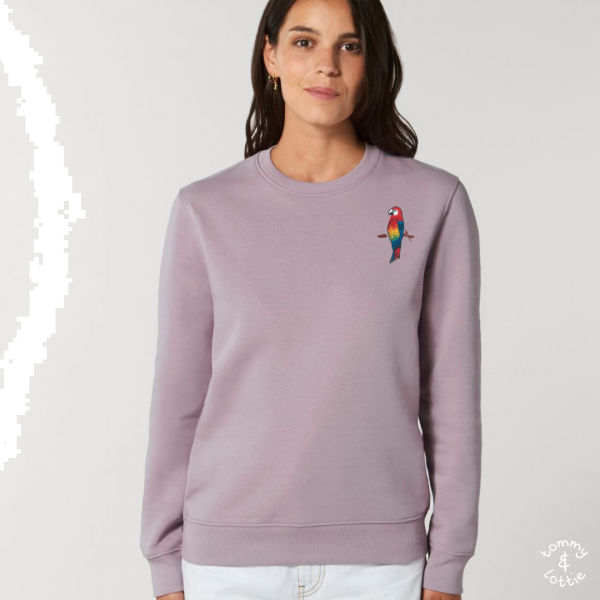 parrot adults organic cotton sweatshirt Lilac Petal