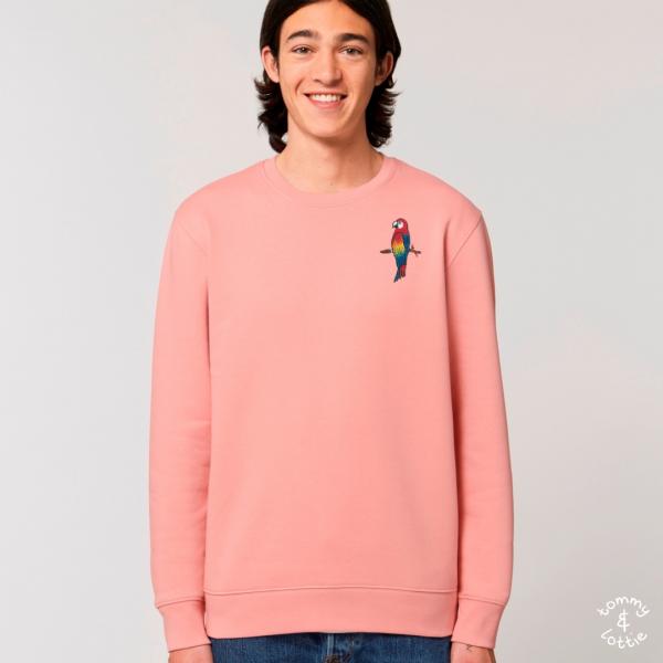 parrot adults organic cotton sweatshirt Canyon Pink