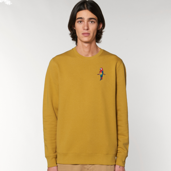 parrot adults organic cotton sweatshirt Ochre