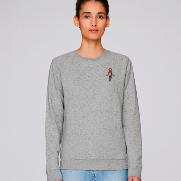 parrot adults organic cotton sweatshirt Grey Marl