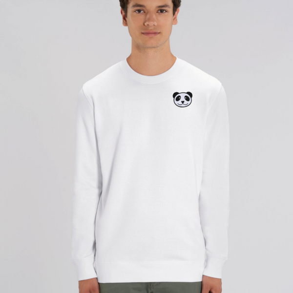 panda adults organic cotton sweatshirt White