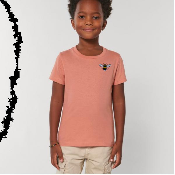 bee kids unisex organic cotton t shirt Rose Clay