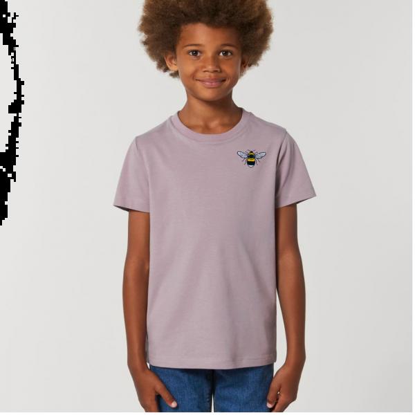 bee kids unisex organic cotton t shirt Lilac Petal