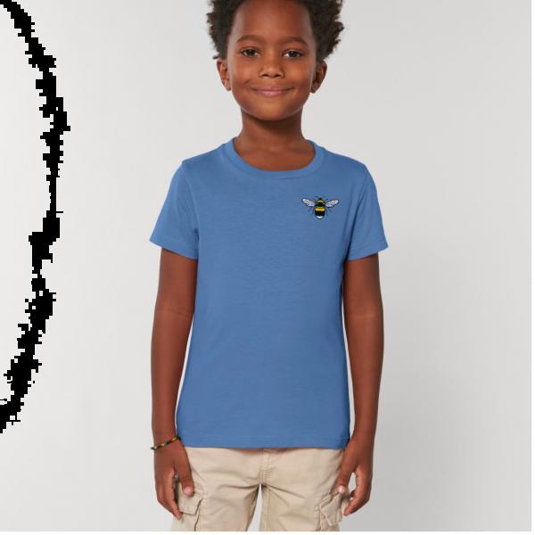 bee kids unisex organic cotton t shirt Bright Blue