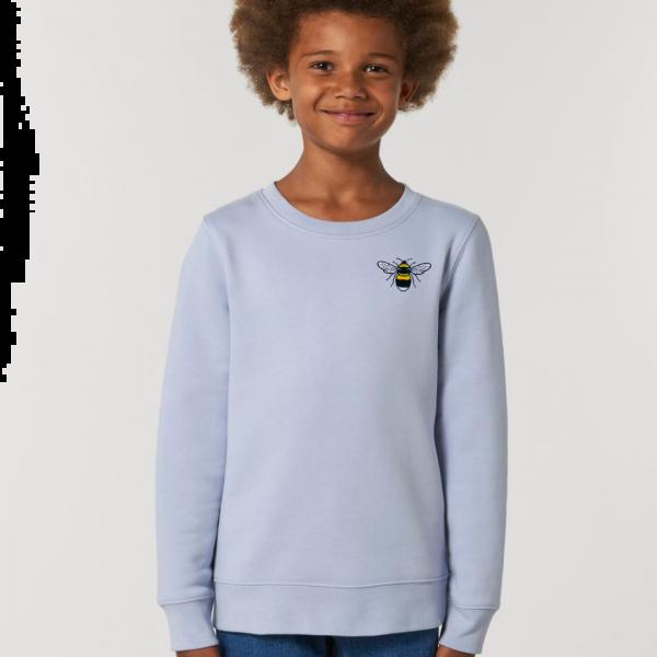 bee kids organic cotton sweatshirt Serene Blue