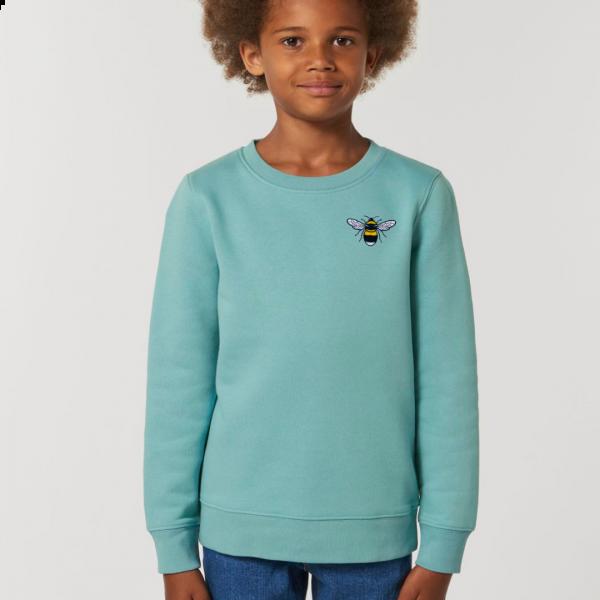 bee kids organic cotton sweatshirt Teal Monstera
