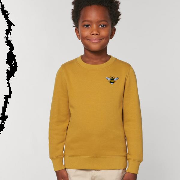 bee kids organic cotton sweatshirt Ochre