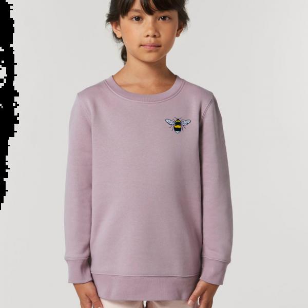 bee kids organic cotton sweatshirt Lilac Petal