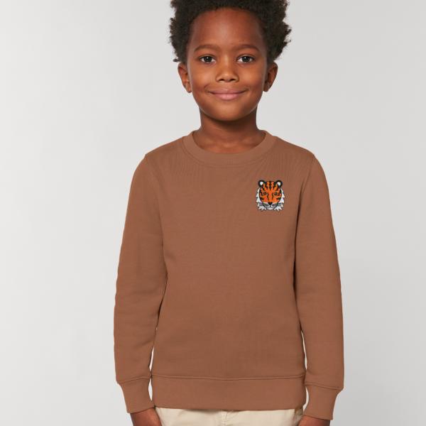 tiger kids organic cotton sweatshirt Caramel