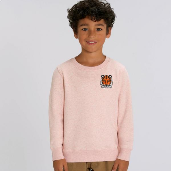 tiger kids organic cotton sweatshirt Cream Pink Marl