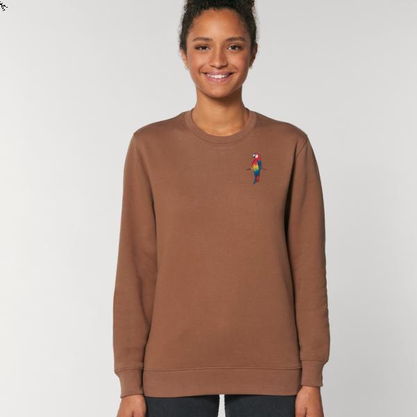 parrot adults organic cotton sweatshirt Caramel