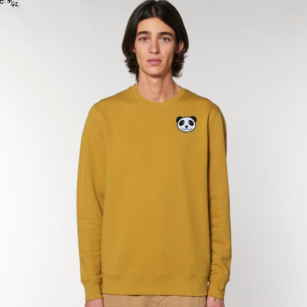 panda adults organic cotton sweatshirt Ochre