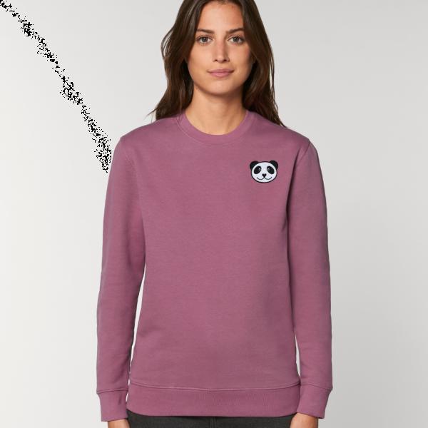 panda adults organic cotton sweatshirt Mauve