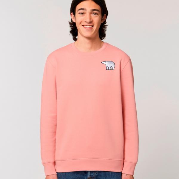 polar bear adults organic cotton sweatshirt Canyon Pink