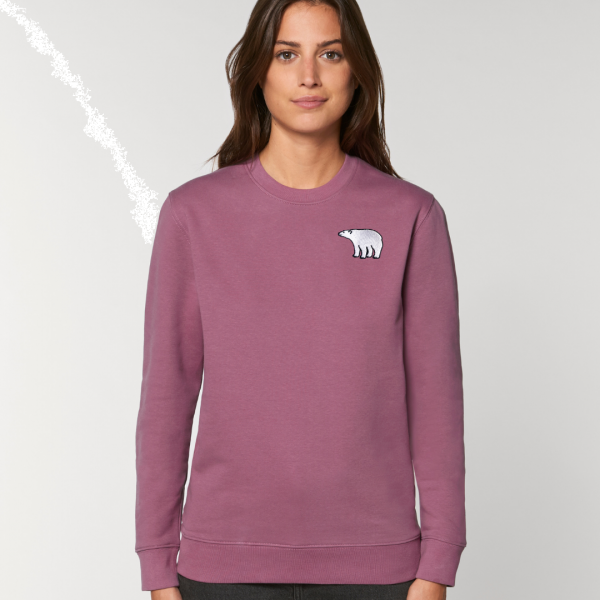 polar bear adults organic cotton sweatshirt Mauve