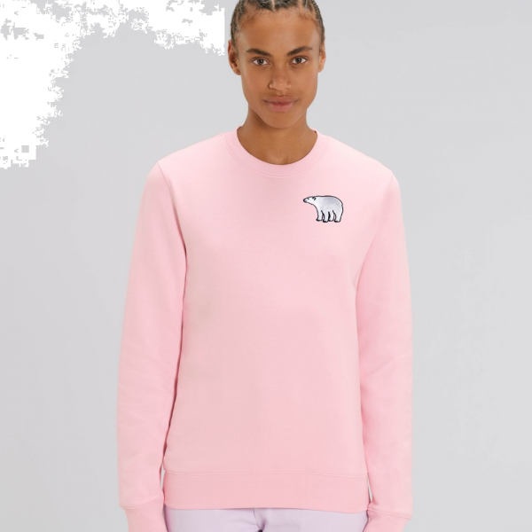 polar bear adults organic cotton sweatshirt Pale Pink