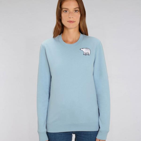 polar bear adults organic cotton sweatshirt Pale Blue