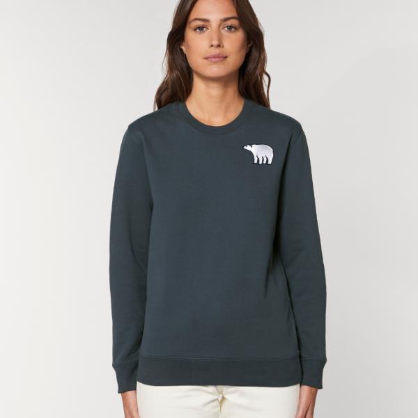 polar bear adults organic cotton sweatshirt Ink Grey