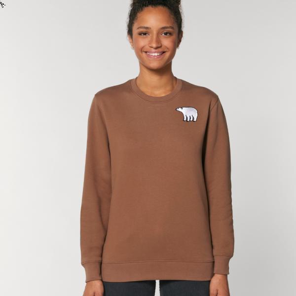 polar bear adults organic cotton sweatshirt Caramel