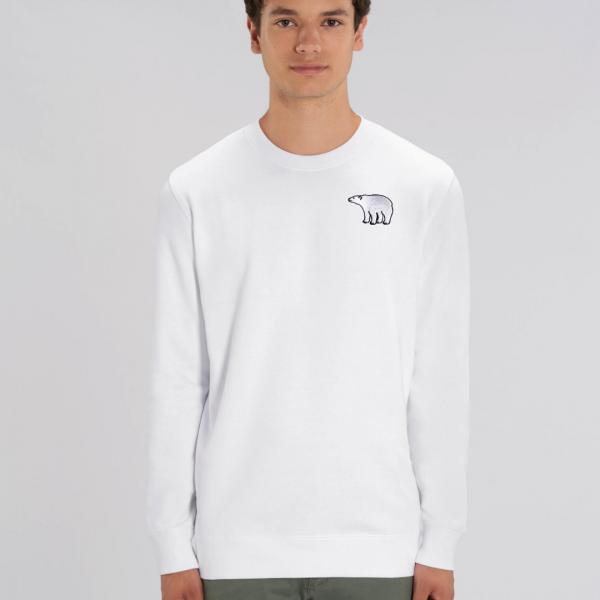 polar bear adults organic cotton sweatshirt White