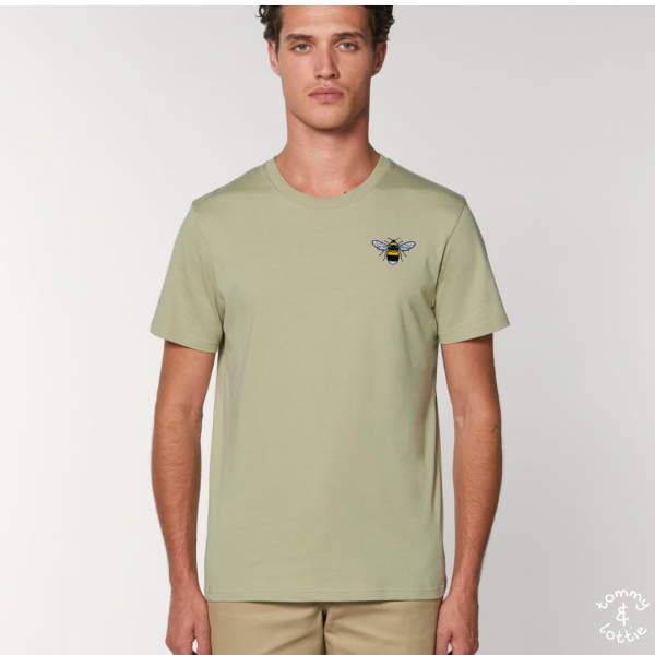 bee adults unisex organic cotton t shirt Sage