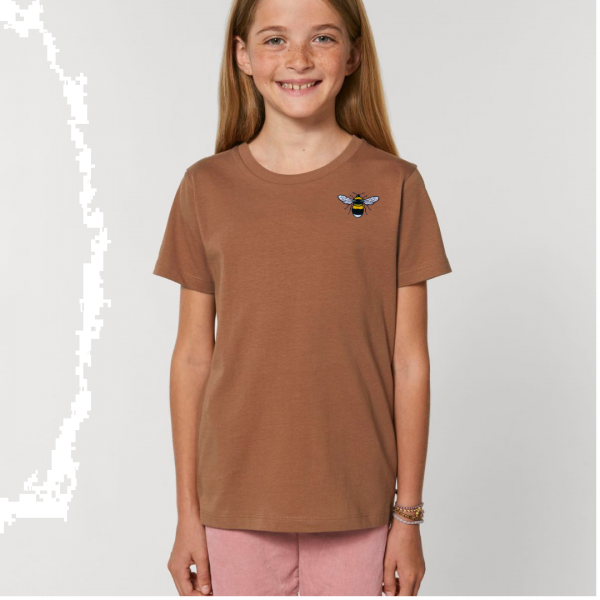 bee kids unisex organic cotton t shirt Caramel