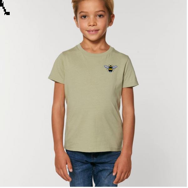 bee kids unisex organic cotton t shirt Sage