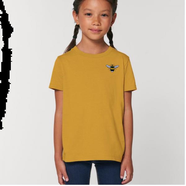 bee kids unisex organic cotton t shirt Ochre