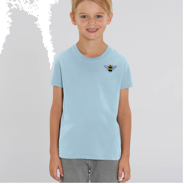 bee kids unisex organic cotton t shirt Pale Blue