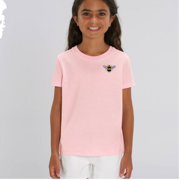 bee kids unisex organic cotton t shirt Pale Pink