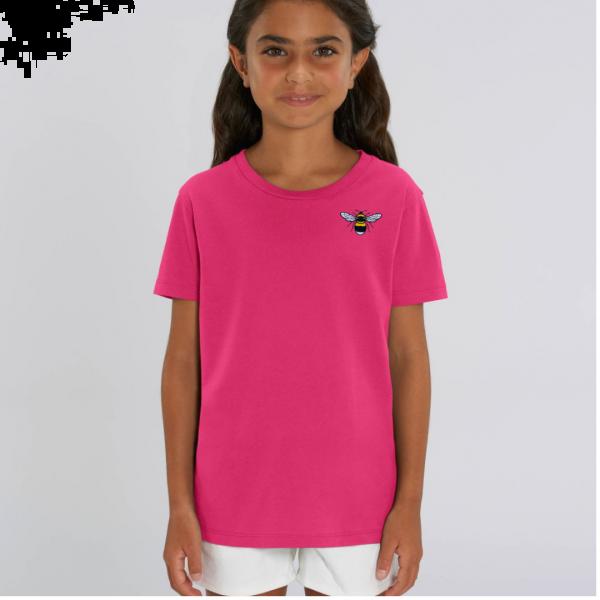 bee kids unisex organic cotton t shirt Raspberry Pink