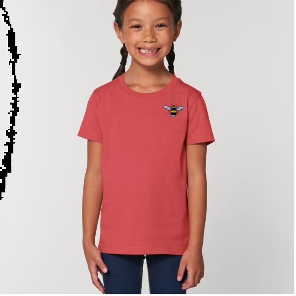 bee kids unisex organic cotton t shirt Carmine Red