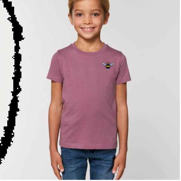 bee kids unisex organic cotton t shirt Mauve
