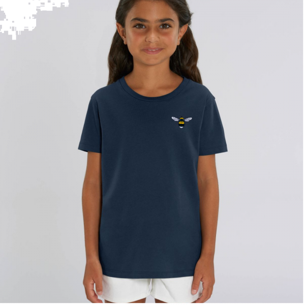 bee kids unisex organic cotton t shirt Navy